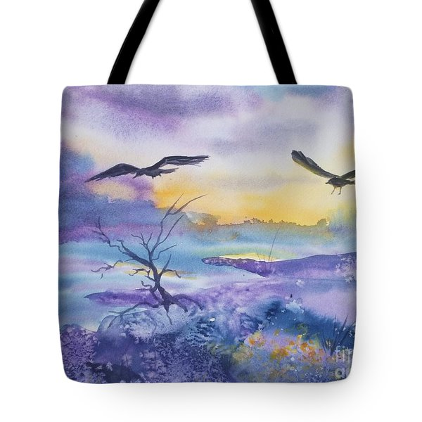 Tote Bag featuring the painting Sister Ravens by Ellen Levinson