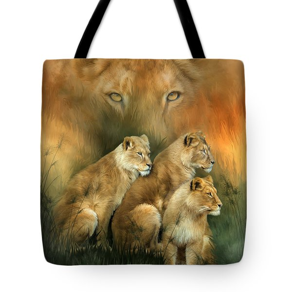 Sisterhood Of The Lions Tote Bag by Carol Cavalaris
