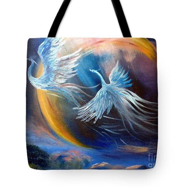 Sisters-birds Of Paradise Tote Bag by Irene Pomirchy
