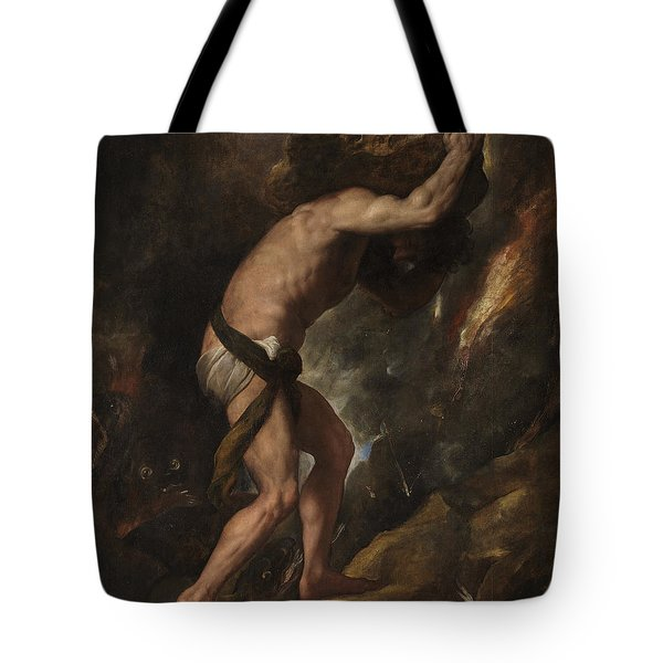 Tote Bag featuring the painting Sisyphus by Titian
