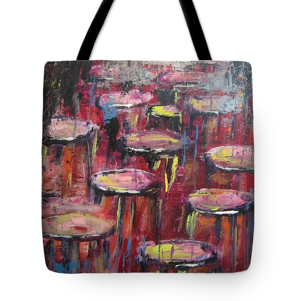 Tote Bag featuring the painting Sit And Stay A While by Lucy Matta