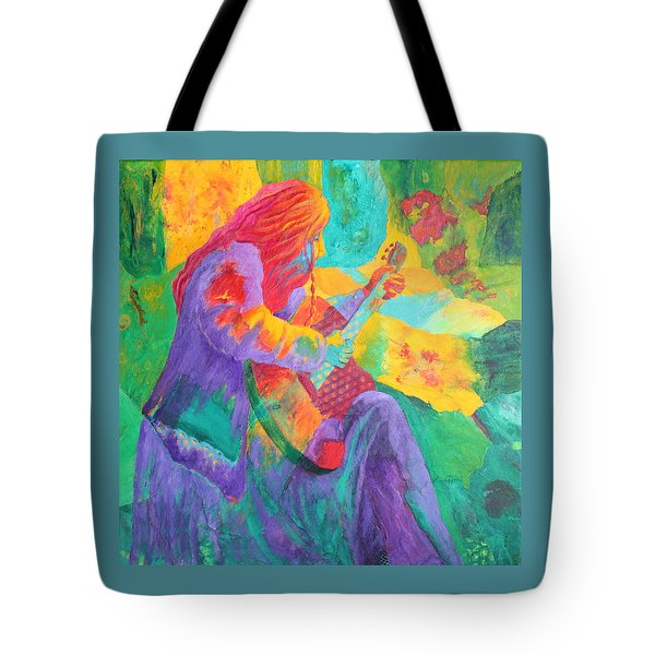 Tote Bag featuring the painting Sit'n And Pick'n by Nancy Jolley