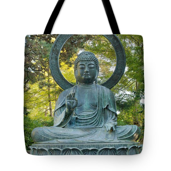 Sitting Bronze Buddha At San Francisco Japanese Garden Tote Bag by David Gn