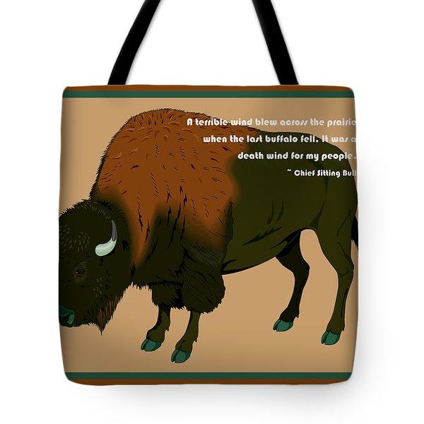 Sitting Bull Buffalo Tote Bag by Digital Creation