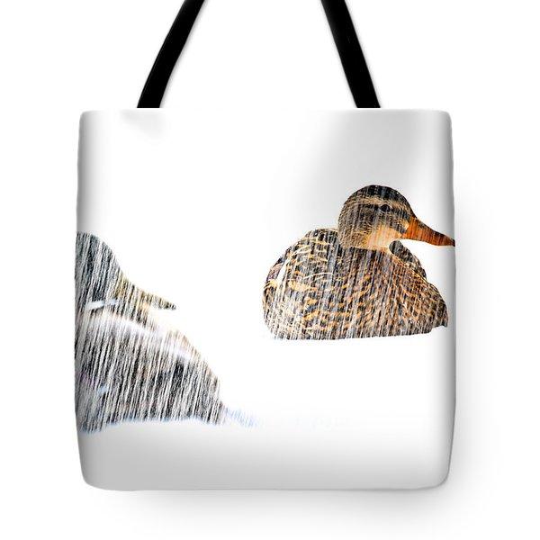 Sitting Ducks In A Blizzard Tote Bag