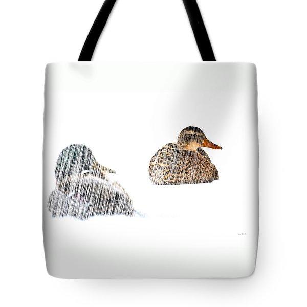 Sitting Ducks In A Blizzard Tote Bag by Bob Orsillo