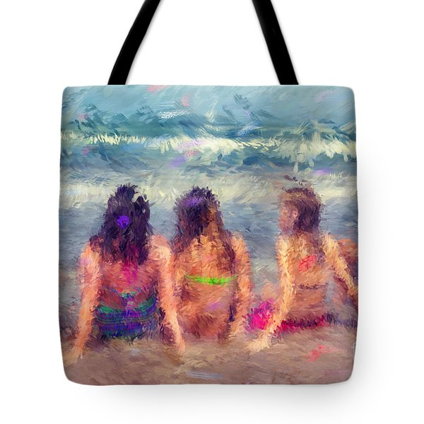 Sitting In The Surf Tote Bag by Erika Weber