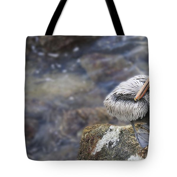 Sitting On A Rock In The Bay Tote Bag