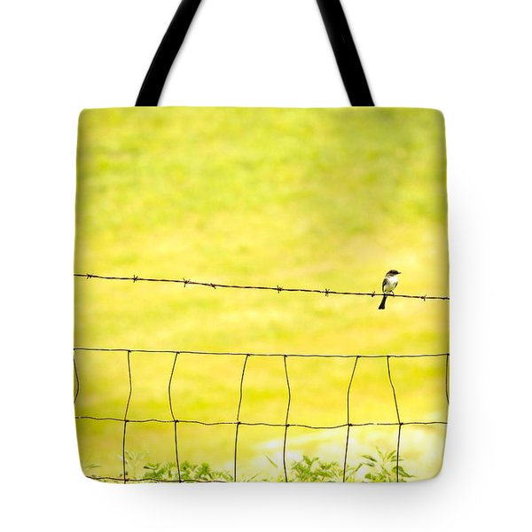 Sitting On A Wire Tote Bag by Karol Livote