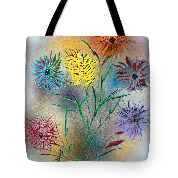 Tote Bag featuring the painting Six Flowers by Greg Moores