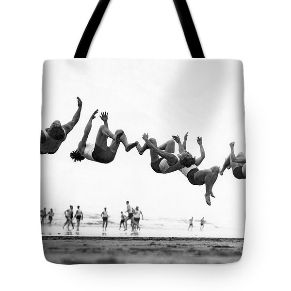Six Men Doing Beach Flips Tote Bag