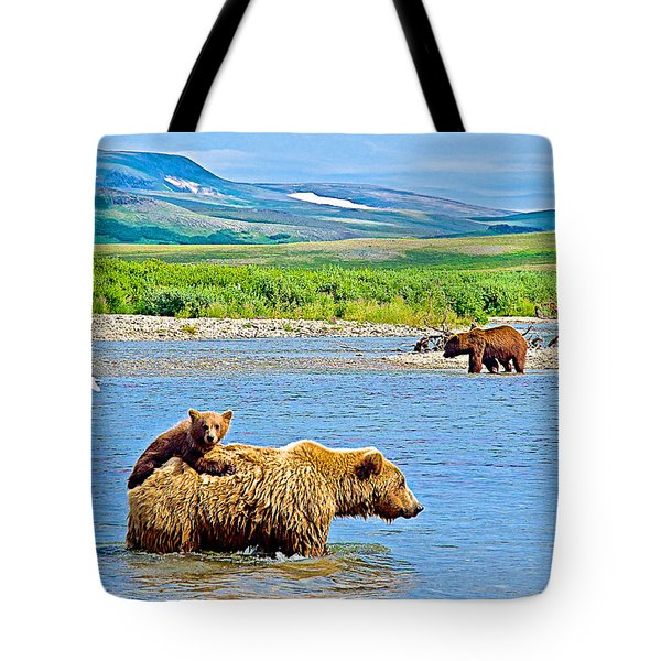 Six-month-old Cub Riding On Mom's Back To Cross Moraine River In Katmai National Preserve-alaska Tote Bag