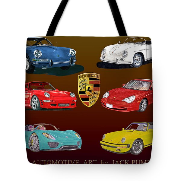 Six Sexy Slippery Porsche Automobiles Tote Bag