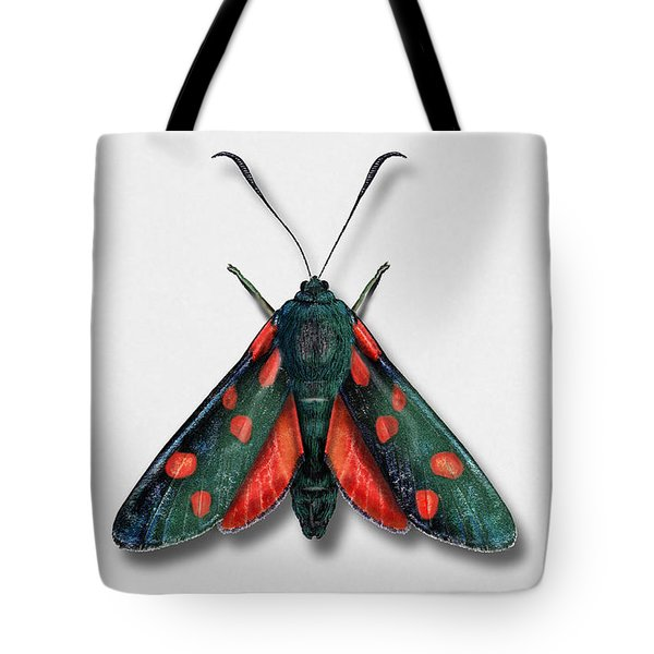Six Spot Burnet Butterfly - Zygaena Filipendulae Naturalistic Painting - Nettersheim Eifel Tote Bag
