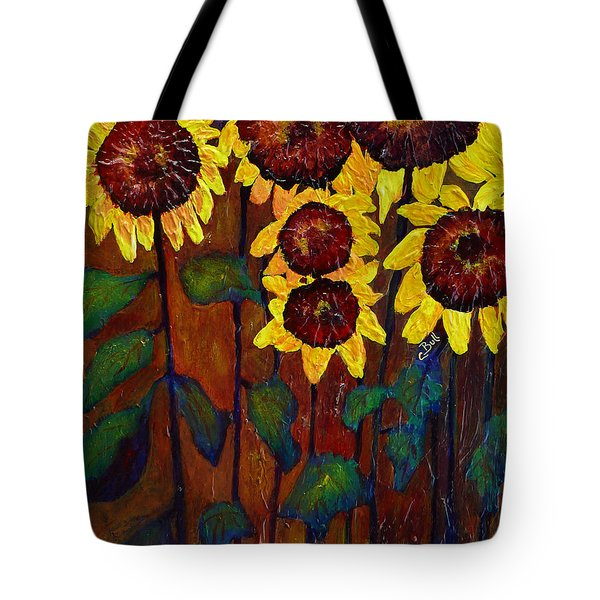 Six Sunflowers Tote Bag by Claire Bull