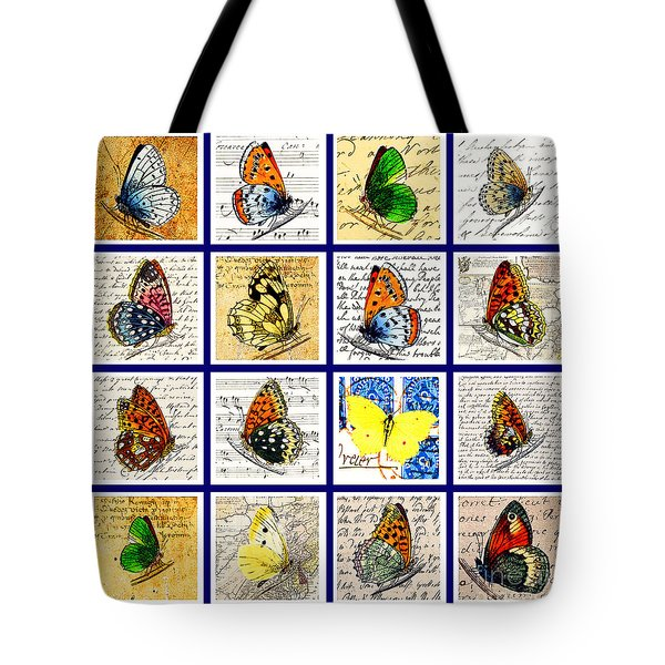 Sixteen Butterflies Tote Bag by Marian Cates