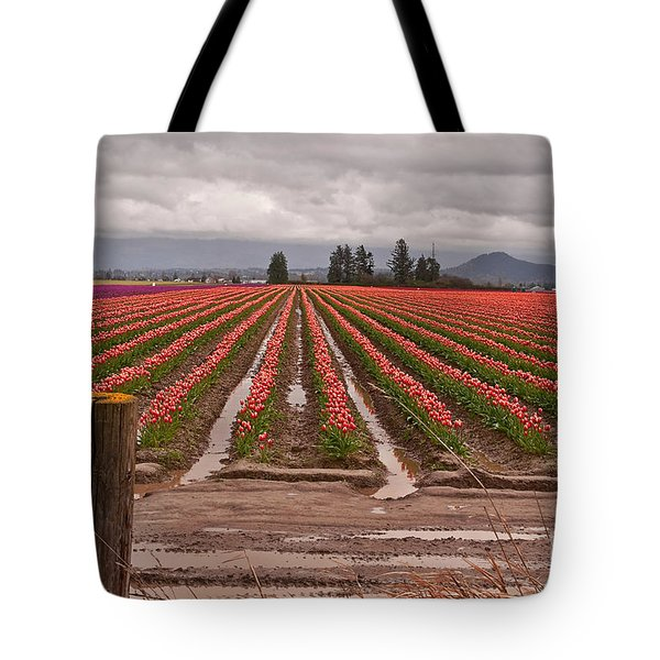 Tote Bag featuring the photograph Skagit Valley Tulip Farmlands In Spring Storm Art Prints by Valerie Garner