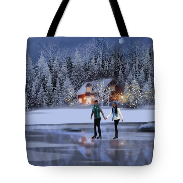 Skating At Christmas Night Tote Bag