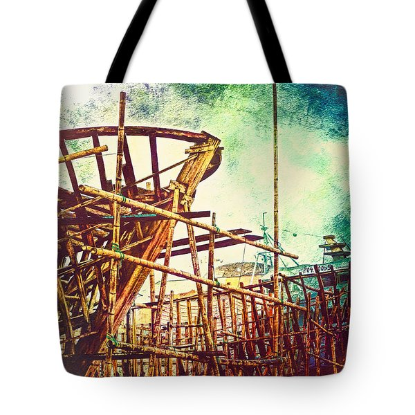 Skeletons In The Yard - Boatbuilding In Ecuador Tote Bag