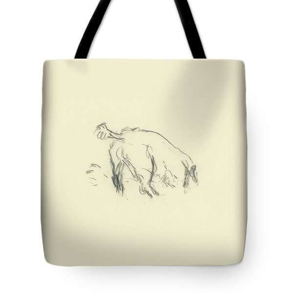 Sketch Of A Dog Digging A Hole Tote Bag