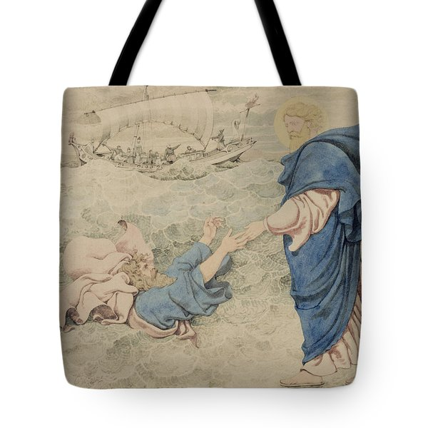 Sketch Of Christ Walking On Water Tote Bag by Richard Dadd
