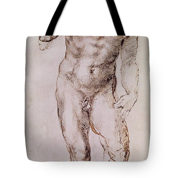 Sketch Of David With His Sling Tote Bag by Michelangelo Buonarroti