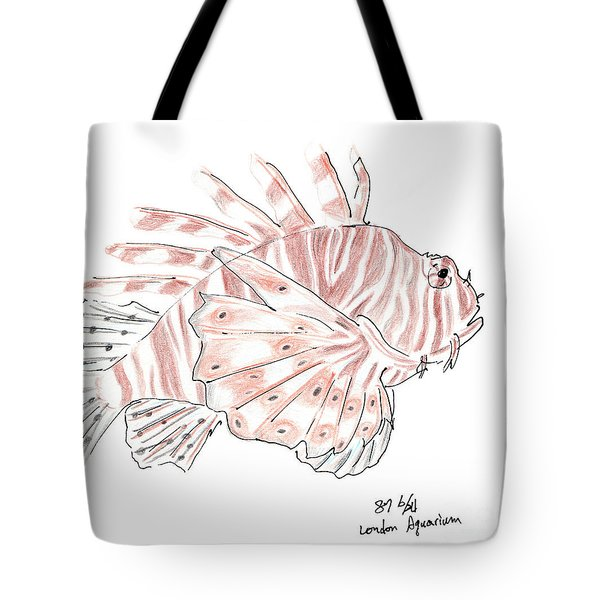 Sketch Of Lion Fish At London Aquarium Tote Bag