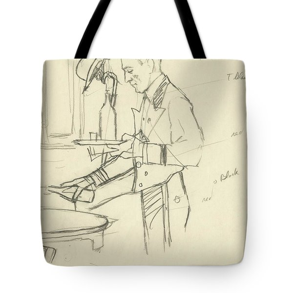 Sketch Of Waiter Pouring Wine Tote Bag
