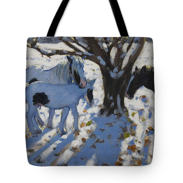 Skewbald Ponies In Winter Tote Bag by Andrew Macara