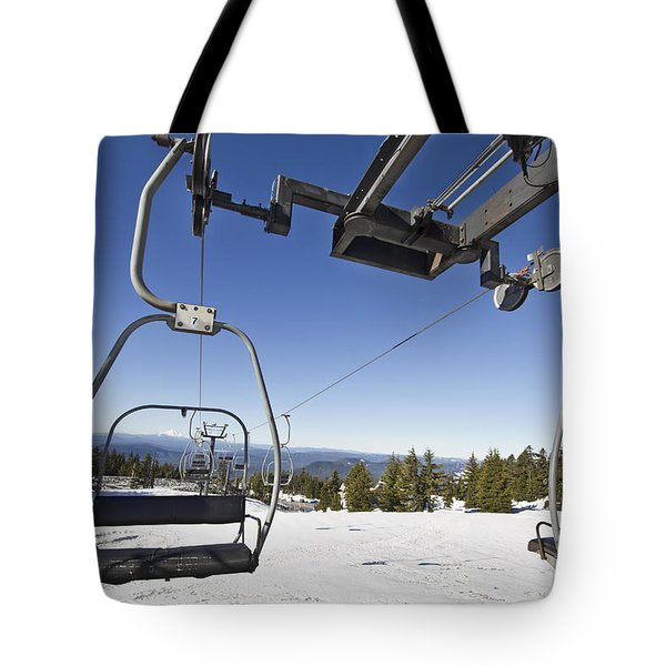 Ski Lifts At Mount Hood In Oreon Tote Bag