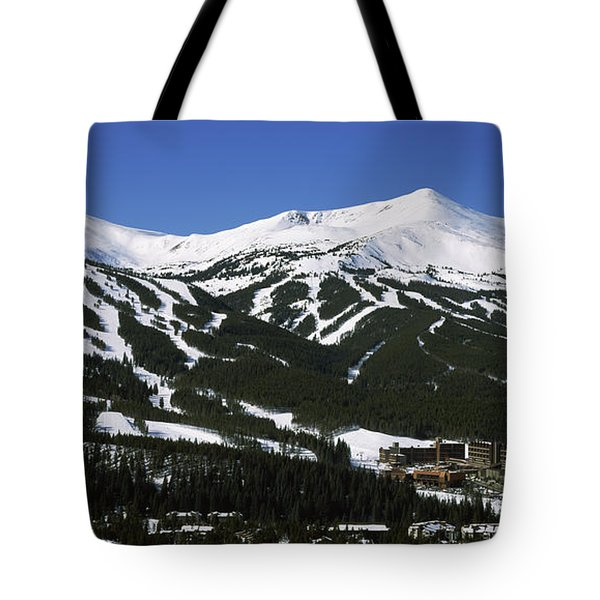 Ski Resorts In Front Of A Mountain Tote Bag