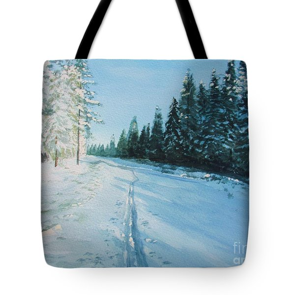 Tote Bag featuring the painting Ski Tracks by Martin Howard