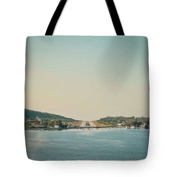 Skiathos Airport Tote Bag by Tom Gowanlock