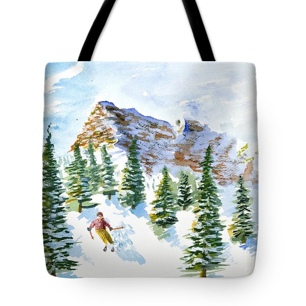 Skier In The Trees Tote Bag