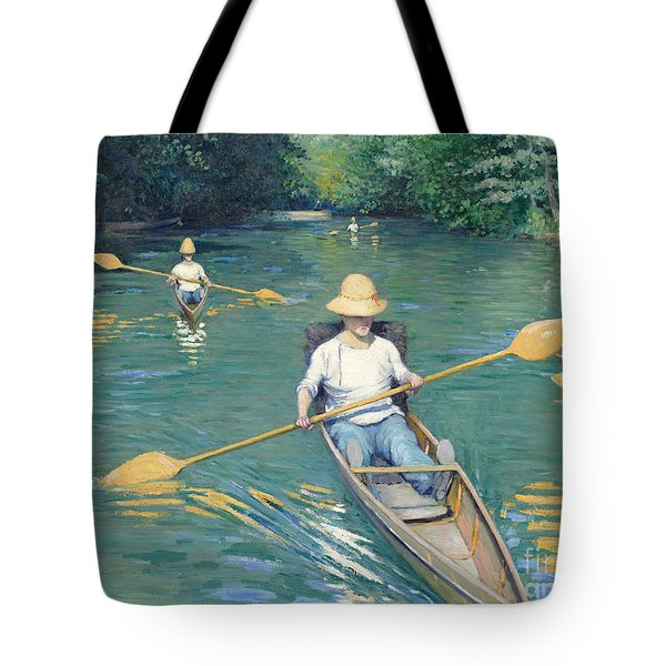 Skiffs Tote Bag by Gustave Caillebotte