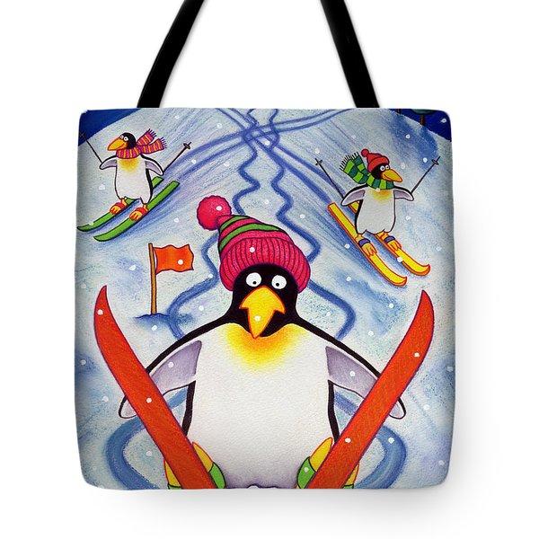 Skiing Holiday Tote Bag by Cathy Baxter