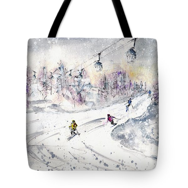 Skiing In The Dolomites In Italy 01 Tote Bag