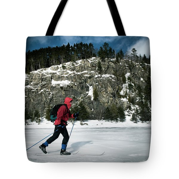 Skiing On Moosehead Lake Tote Bag