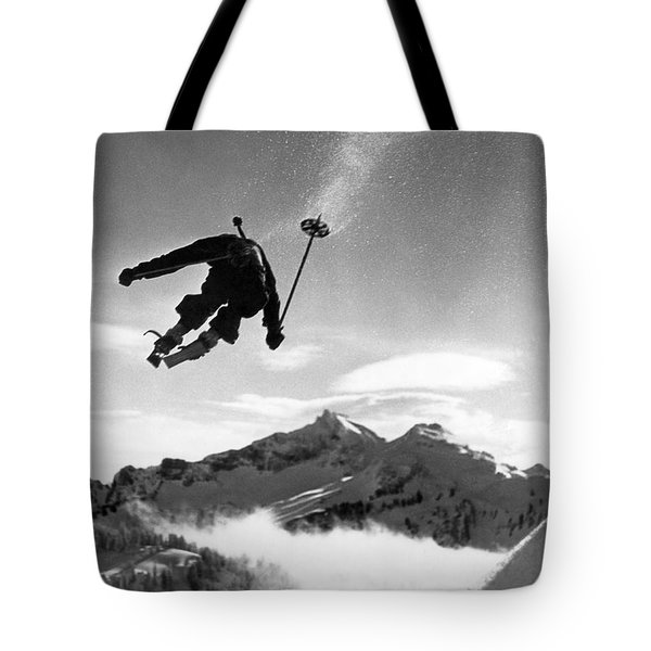 Skiing Over Mt. Ranier Tote Bag