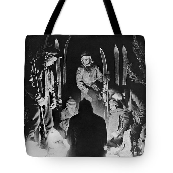 Skiing Party Camps In Siberia Tote Bag by Underwood Archives
