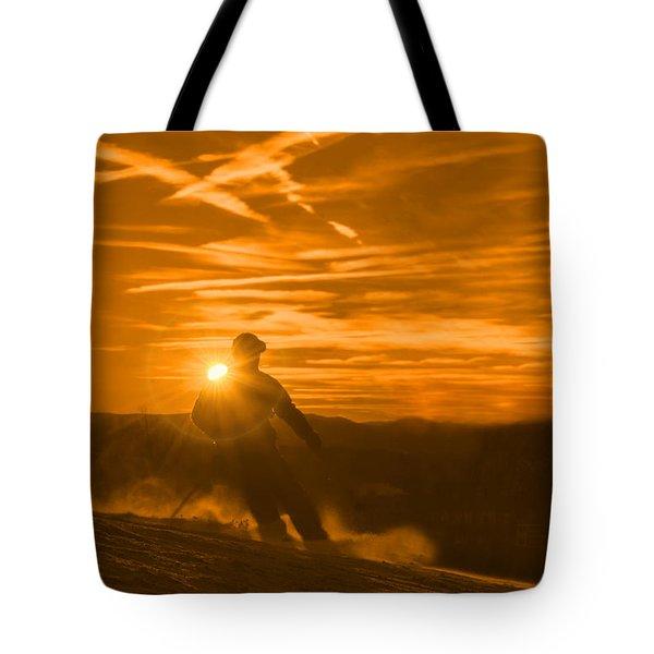 Skiing West Virgina Sunset Tote Bag by Dan Friend