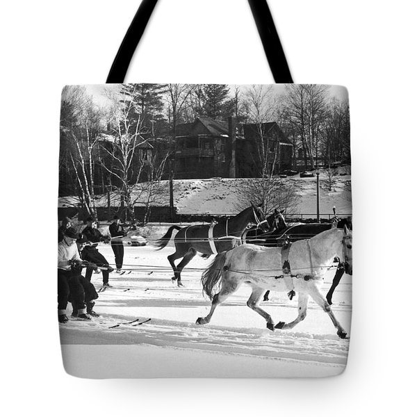 Skijoring At Lake Placid Tote Bag