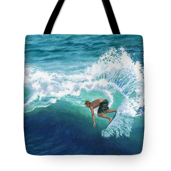 Skimboard Surfer Tote Bag by Alice Leggett