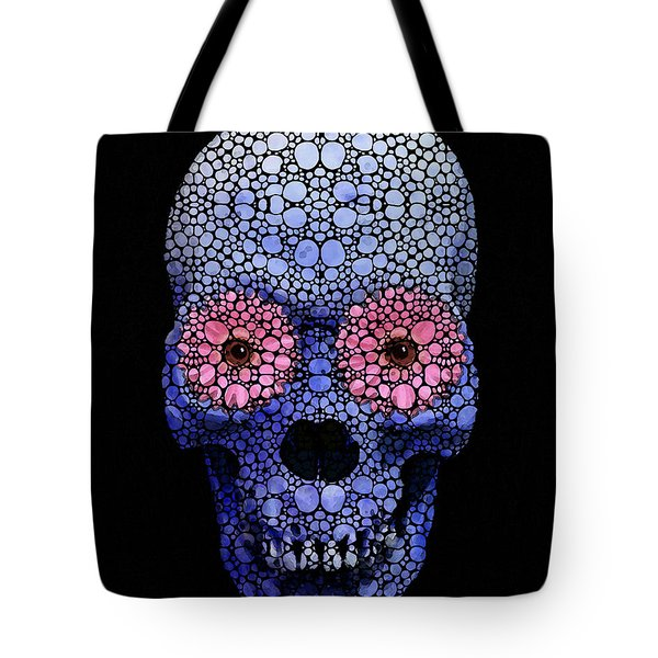 Skull Art - Day Of The Dead 1 Stone Rock'd Tote Bag by Sharon Cummings