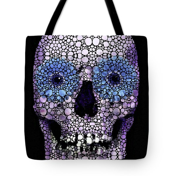 Skull Art - Day Of The Dead 2 Stone Rock'd Tote Bag by Sharon Cummings