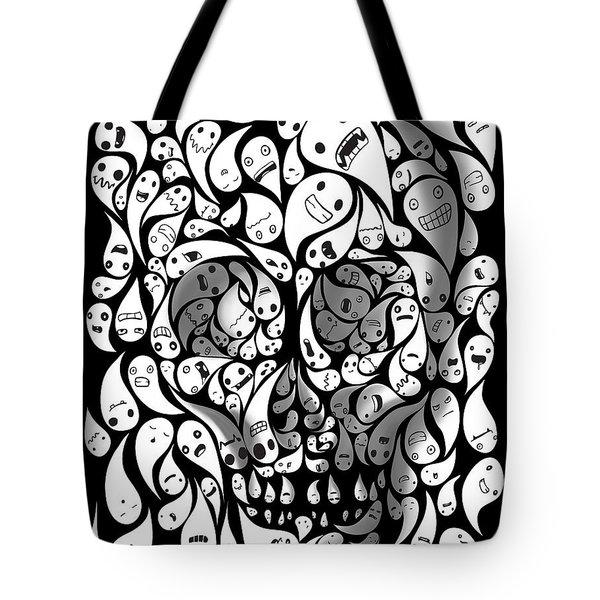 Skull Doodle Tote Bag by Sassan Filsoof