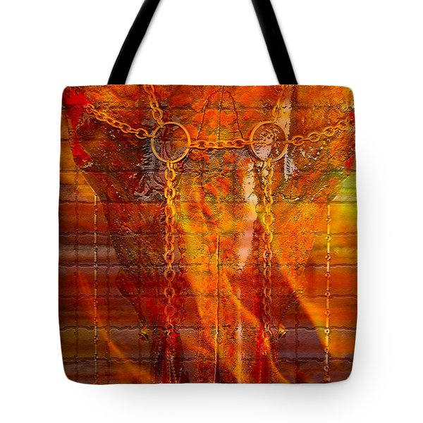 Skull On Fire Tote Bag