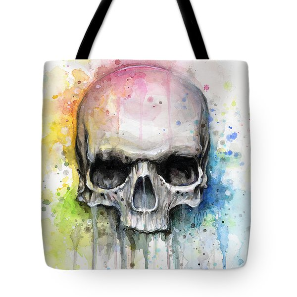 Skull Watercolor Painting Tote Bag