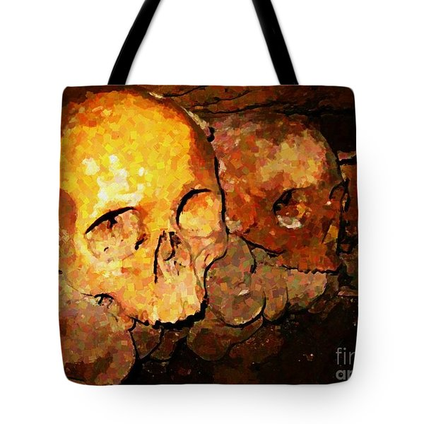 Skulls In The Paris Catacombs Tote Bag by John Malone