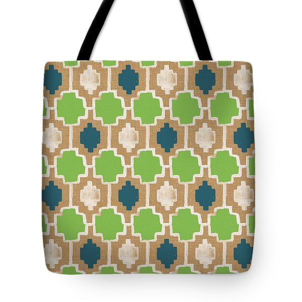 Sky And Sea Tile Pattern Tote Bag by Linda Woods